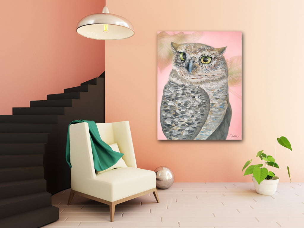 canvas owl print, owl art on canvas, nursery owl prints, cute owl print, contemporary owl art, owl home decor sale
