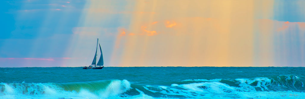 sailboat panoramic, sun rays on ocean, sunrise photography