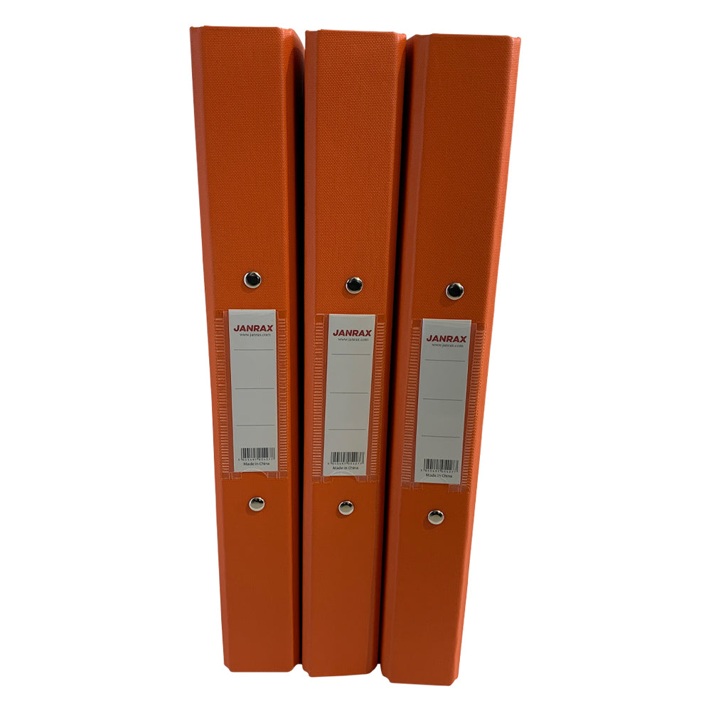 Pack of 10 A4 Orange Paper Over Board Ring Binders by Janrax