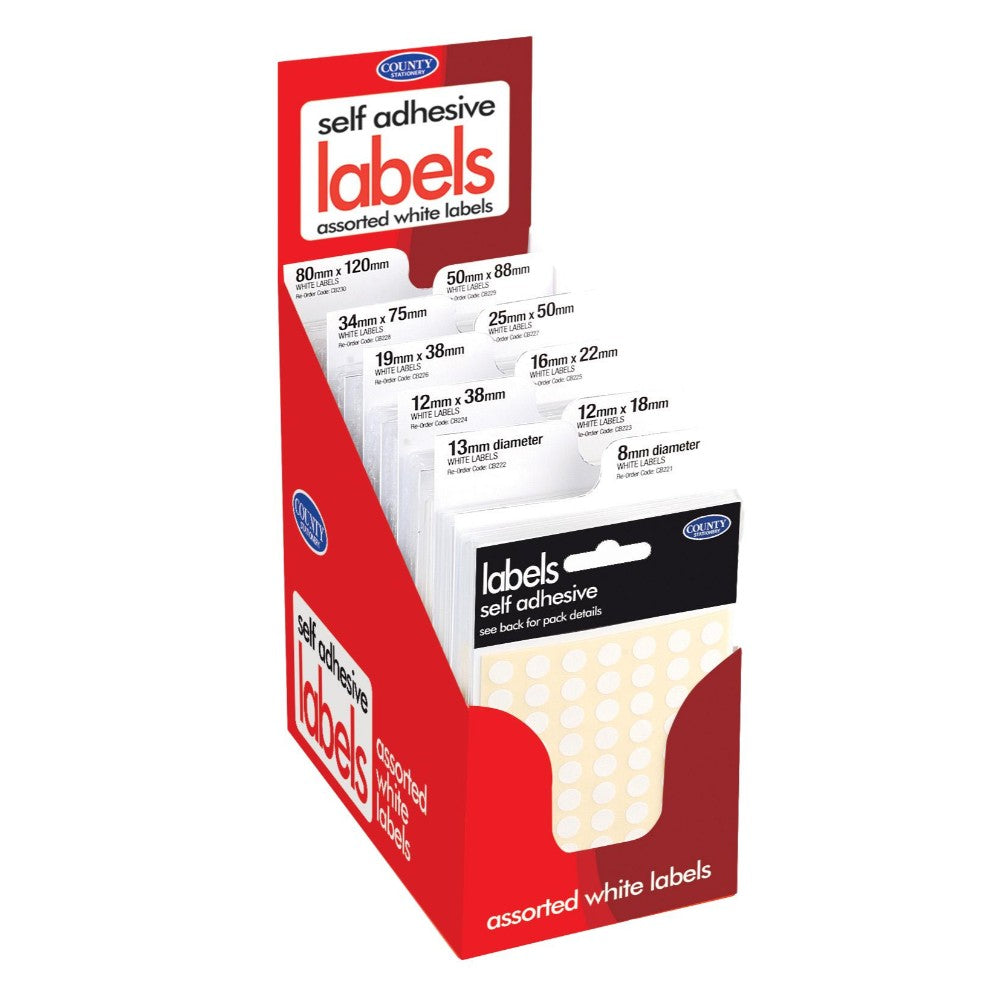 Pack of 100 Self Adhesive Labels - White
