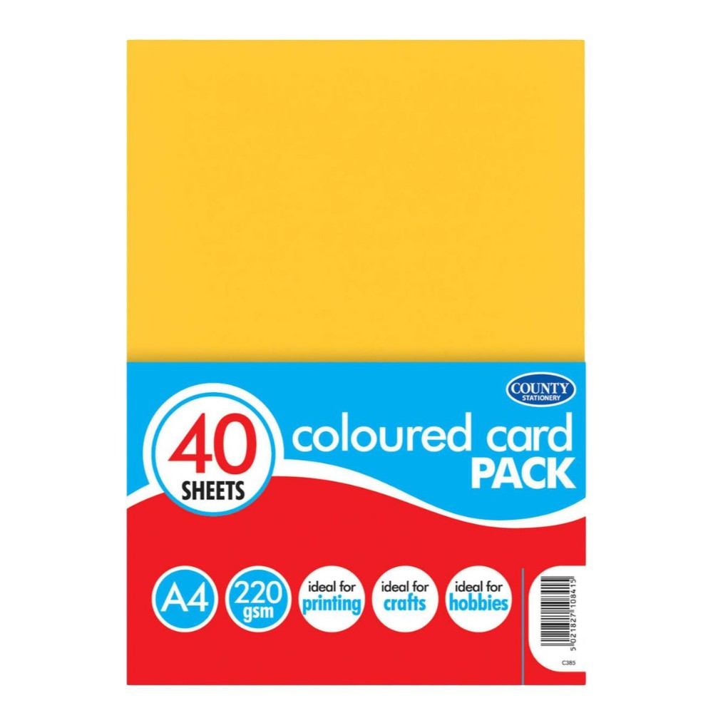 40 A4 Coloured Cards 220gsm
