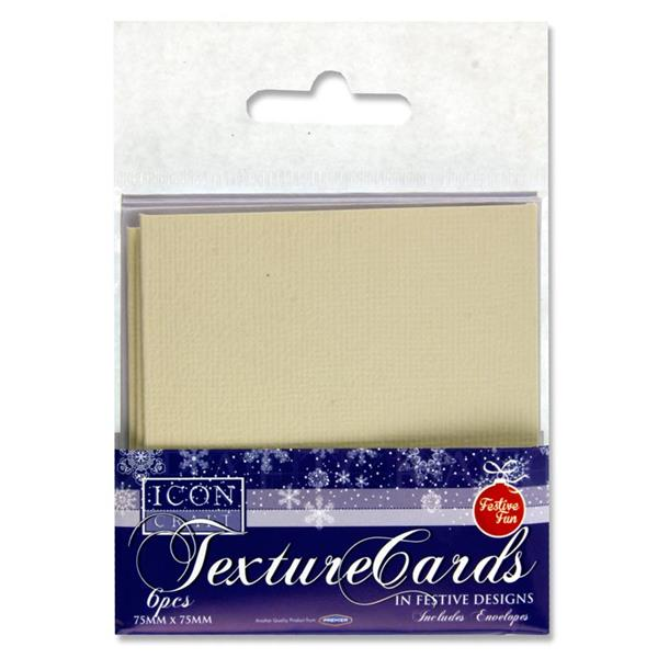 Pack of 6 Christmas Festive Blank Texture Cards & Envelopes 75 x 75mm by Icon Craft
