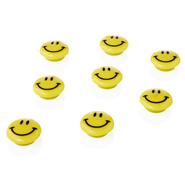 Pack of 8 20mm Round Smiley Magnets by Emotionery