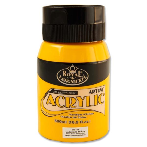 Cadmium Yellow 500ml Essentials Acrylic Pot by Royal & Langnickel