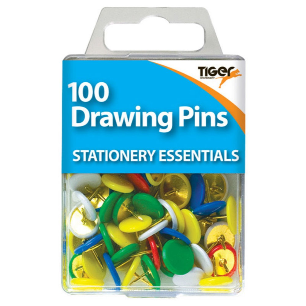 Pack of 100 Coloured Drawing Pins