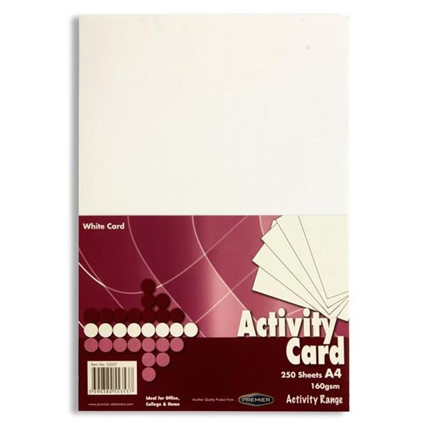 Pack of 250 Sheets A4 White 160gsm Card by Premier Activity