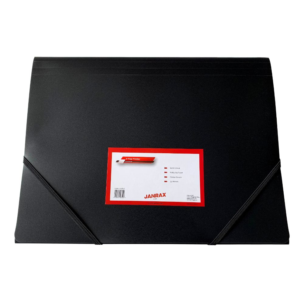 Janrax A4 Black 3 Flap Folder with Elasticated Closure