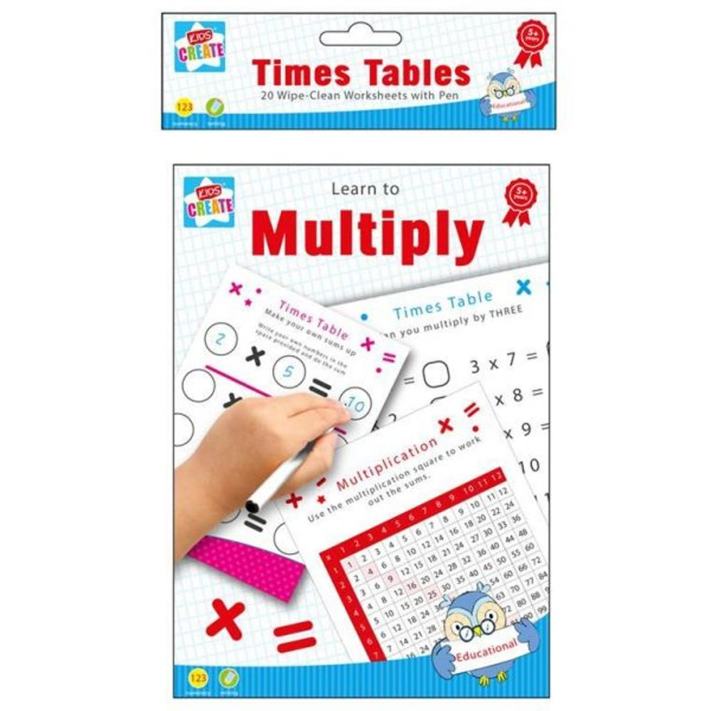 Pack of 20 A5 Wipe-Clean worksheets with pen - Learn to Multiply