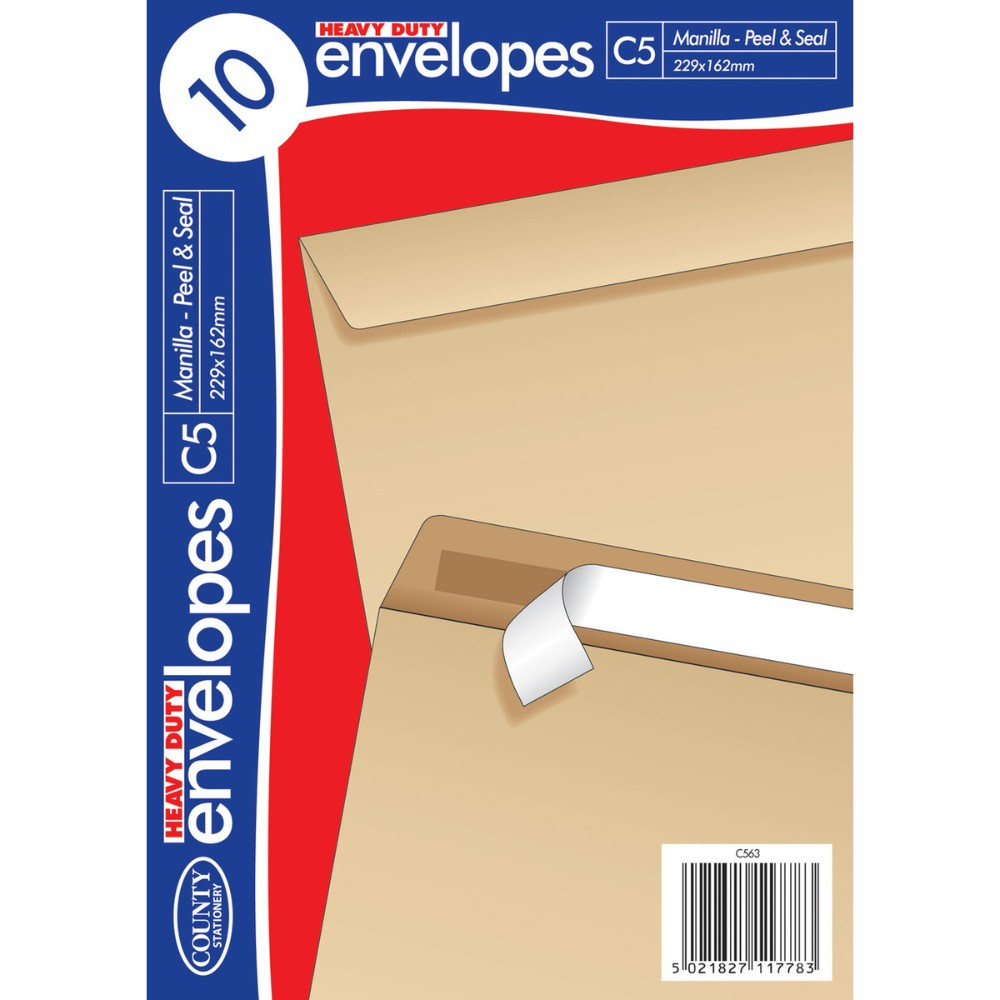 10 C5 Heavy Duty Peel and Seal Manilla Envelopes