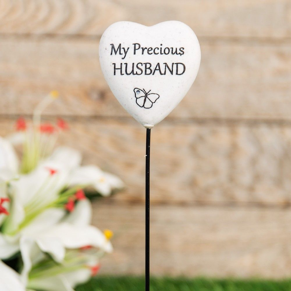 Graveside Plaque Thoughts Of You Resin Heart on Stick - Husband