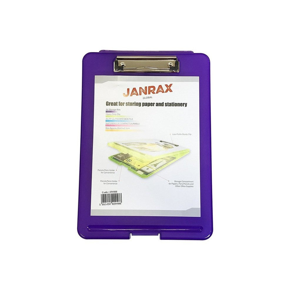 A4 Purple Clipboard Box File - Storage Filing Case