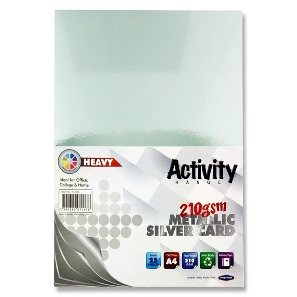 Pack of 25 Sheets A4 Metallic Silver 210gsm Card by Premier Activity
