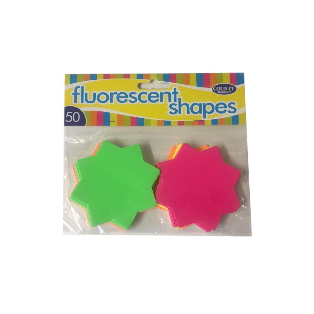 50 Fluorescent Star Shapes 74mm