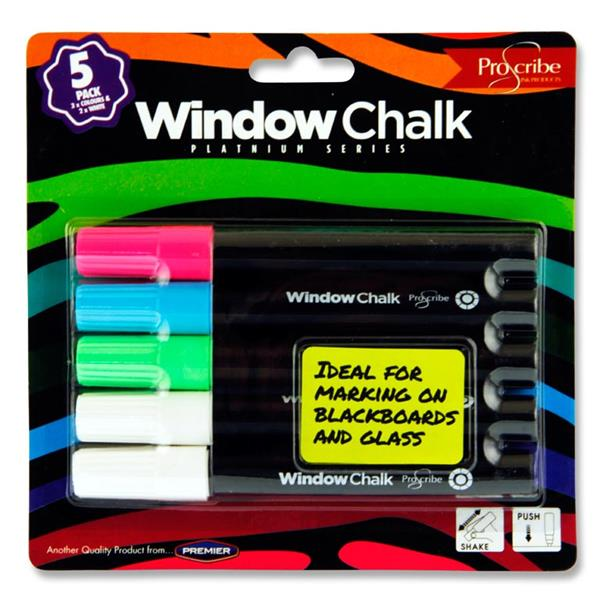 Pack of 5 Window Chalk Markers by Pro:scribe