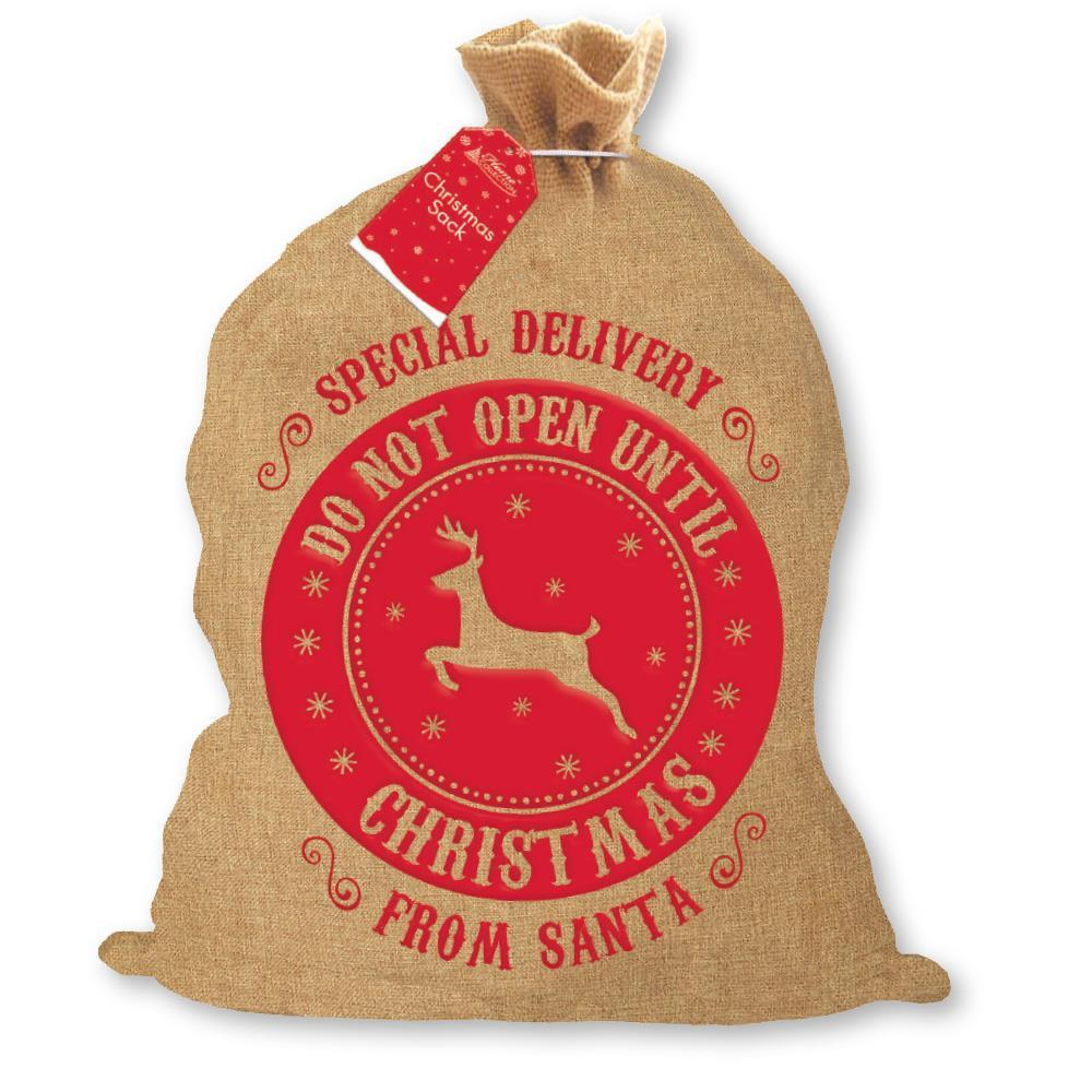 Christmas Santa Hessian Traditional Sack with Reindeer Design