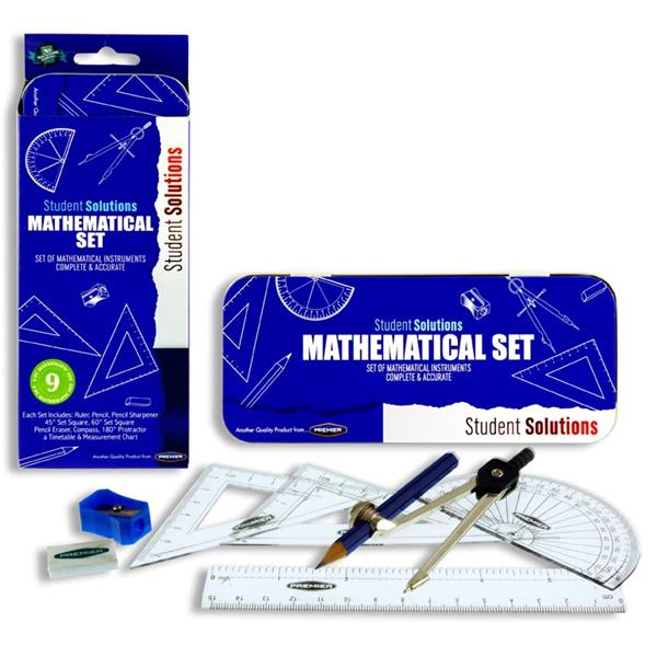 Pack of 9 Piece Mathematical Instruments Set by Student Solutions