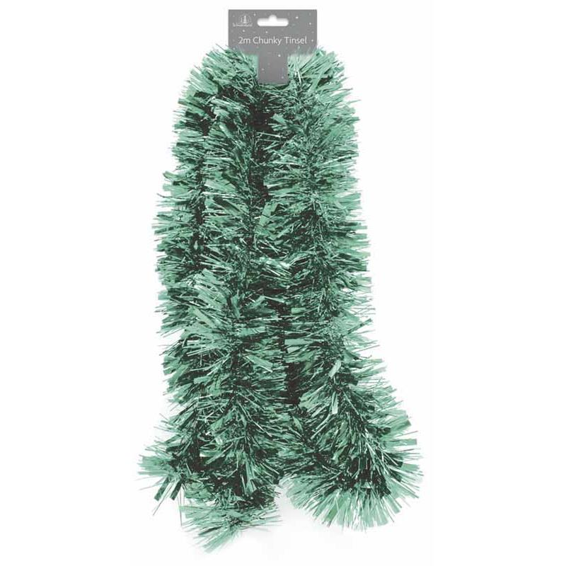 2m Christmas Pale Green Chunky Decoration Tinsel