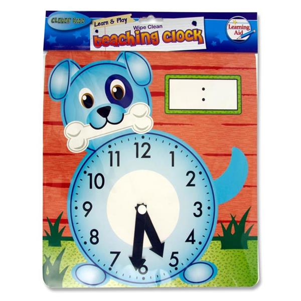 Wipe-clean 25.5 x 26.5cm 'Dog' Teaching Clock by Clever Kidz