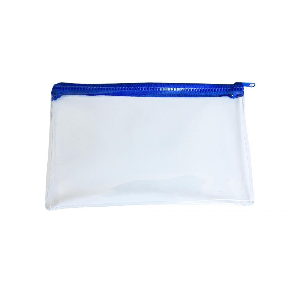 "Janrax 8x5"" Blue Zip Clear Exam Pencil Case"