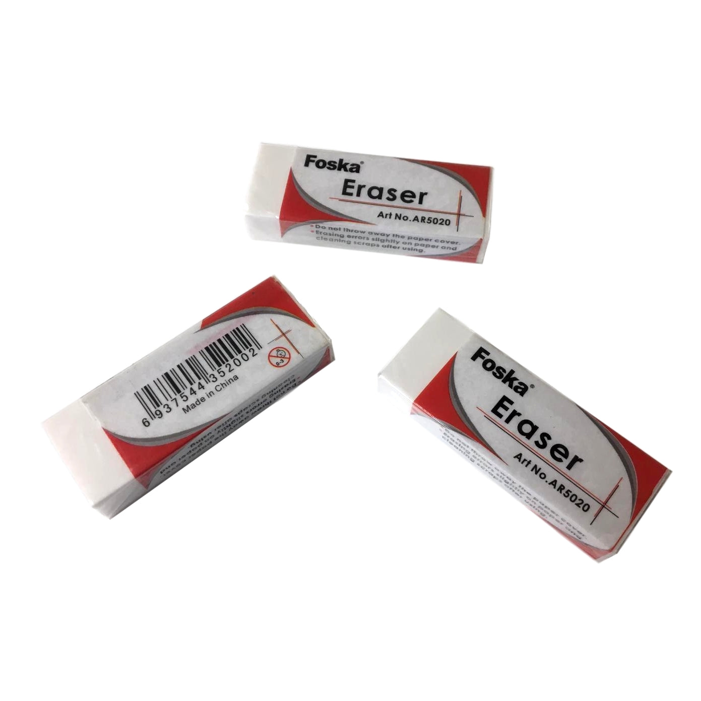 Pack of 20 White Erasers