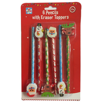 6 x Christmas Pencils Shaped Eraser Toppers