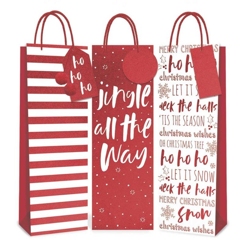 Pack of 12 Red and White Christmas Bottle Gift Bags