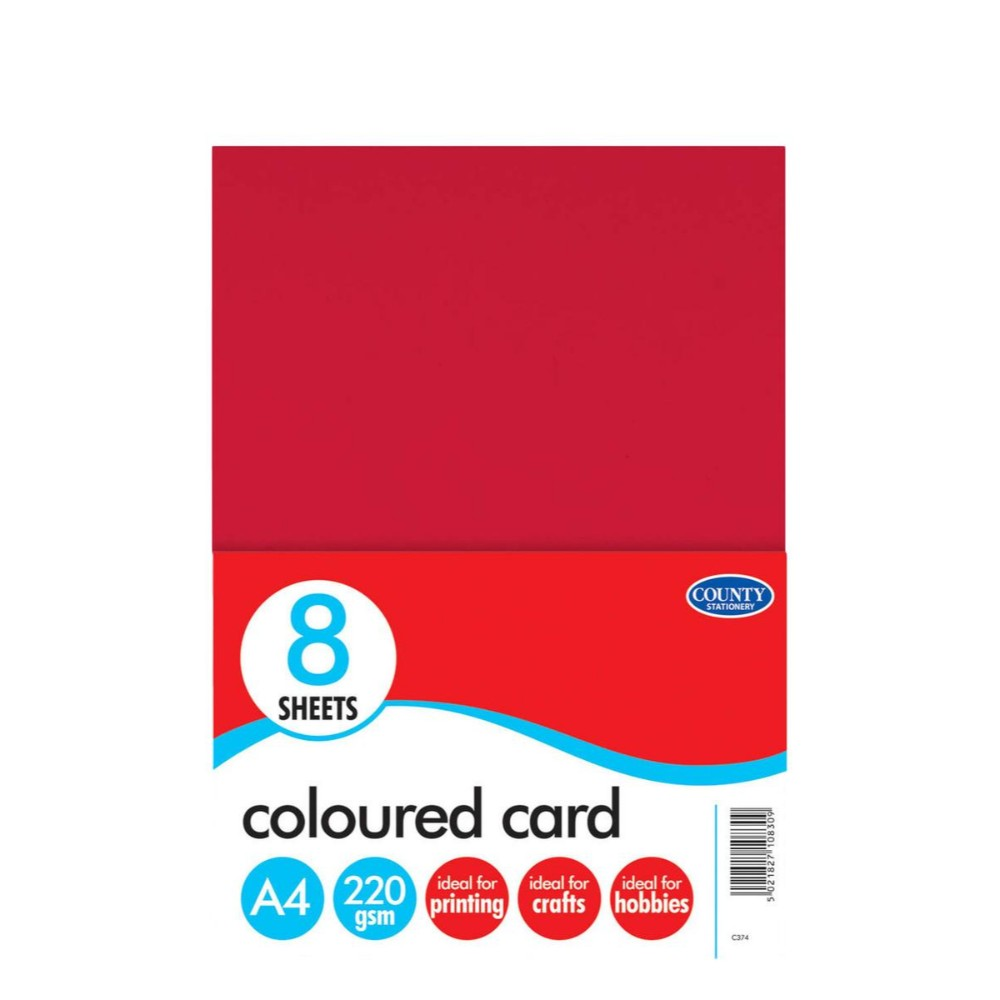 8 A4 Coloured Cards 220gsm
