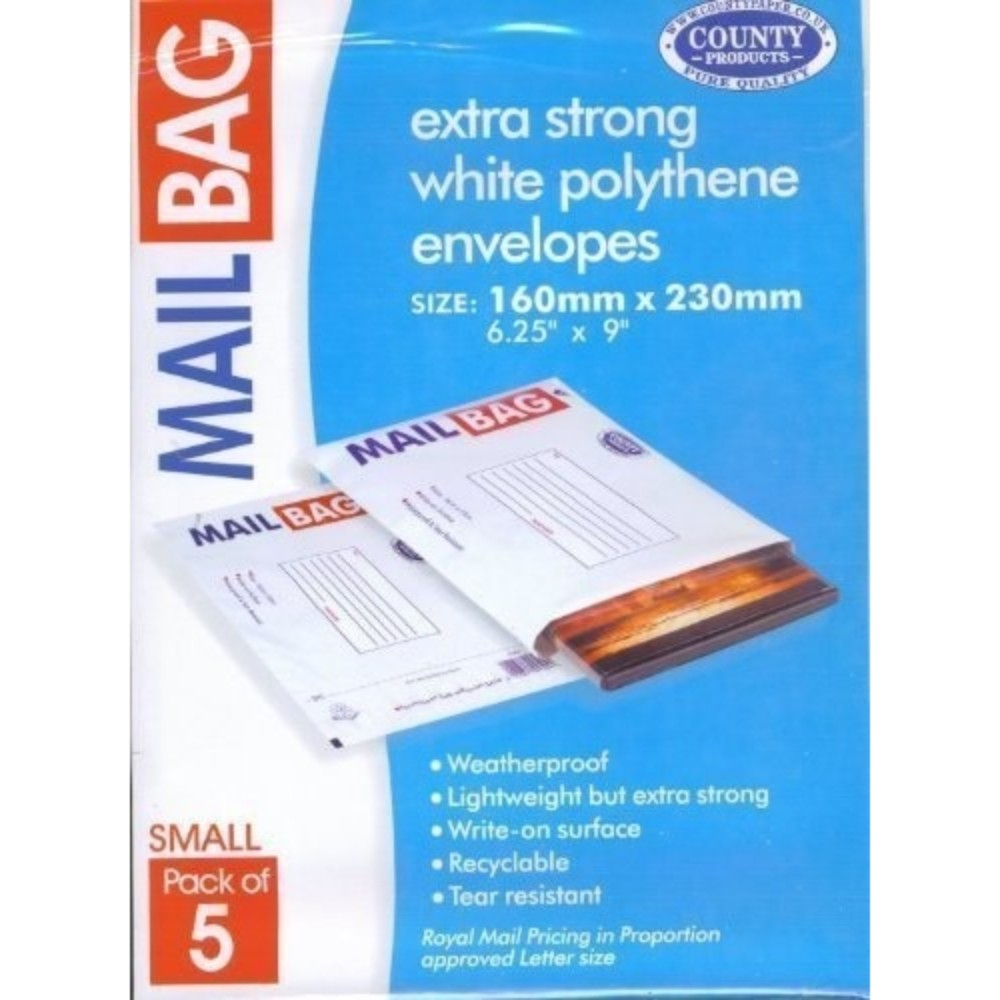 Pack of 5 Small Strong Polythene Mail Bag