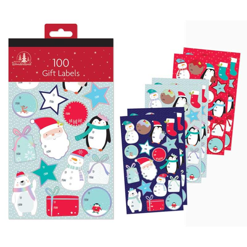 Pack of 100 Cute Foil Christmas Gift Labels in Hanging Pack