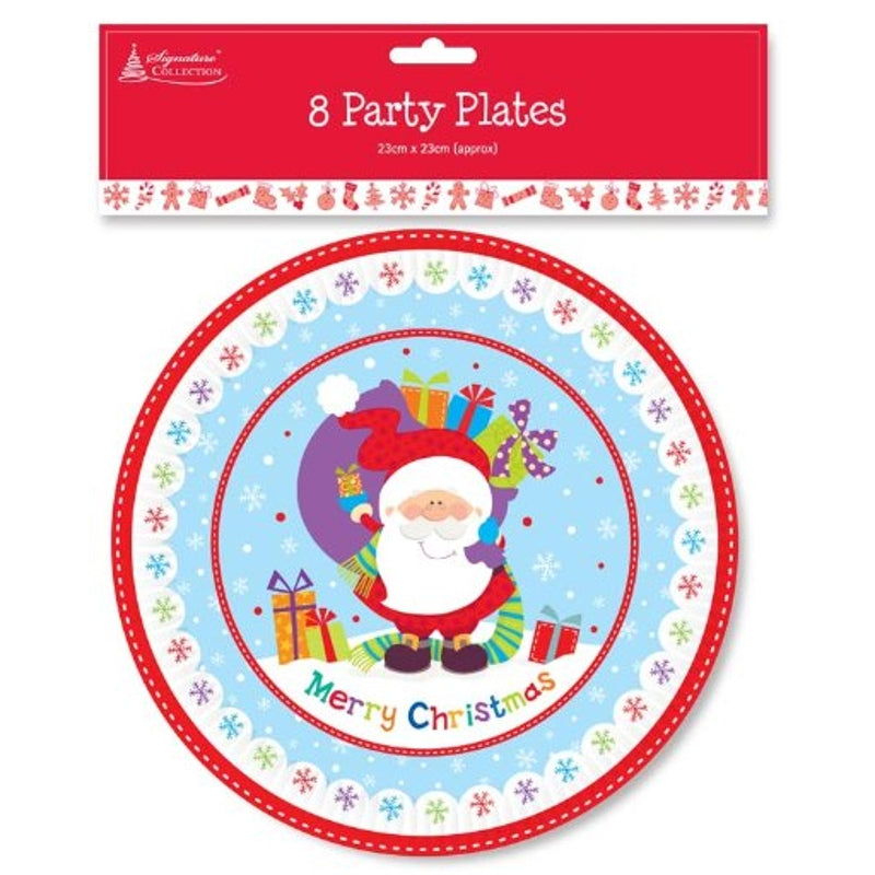 Pack Of 8 Festive Season Christmas Table Disposable Round Party Paper Plates