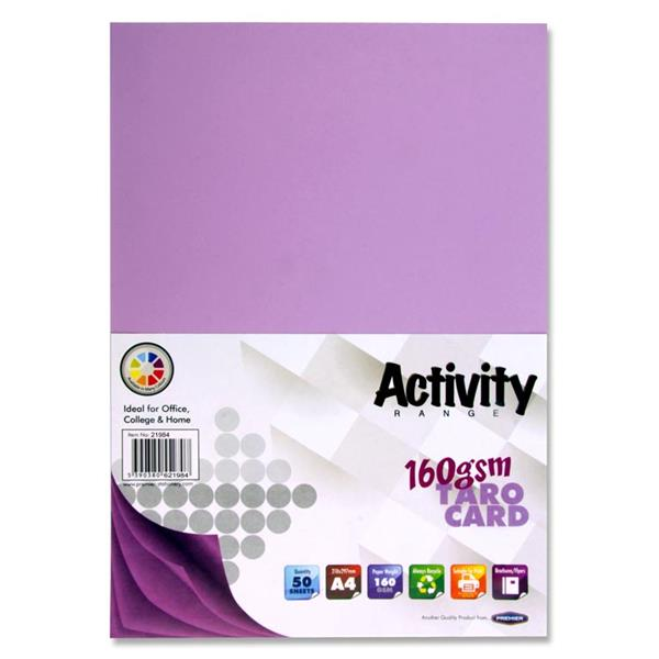 Pack of 50 Sheets A4 Taro Purple 160gsm Card by Premier Activity