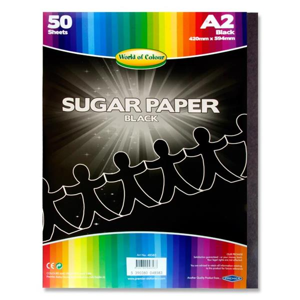 Pack of 50 A2 Black Sugar Paper Sheets by World of Colour