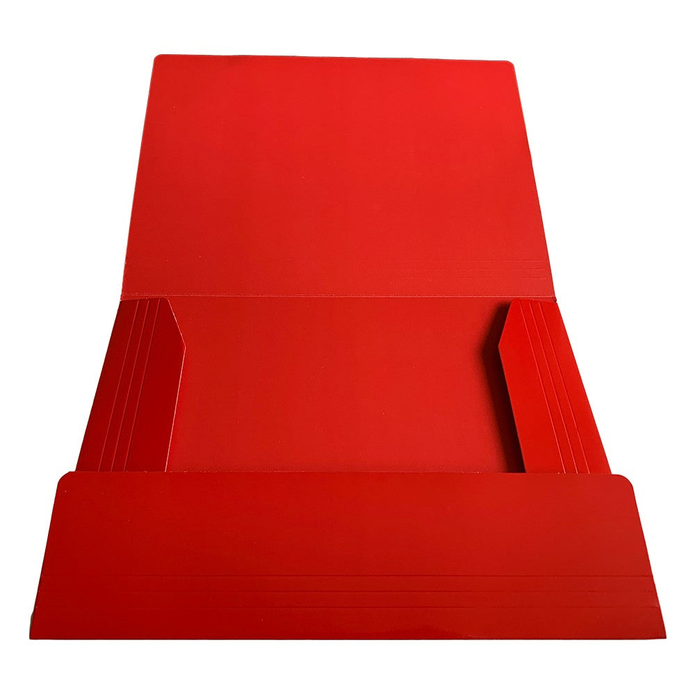 Janrax A4 Red Laminated Card 3 Flap Folder with Elastic Closure