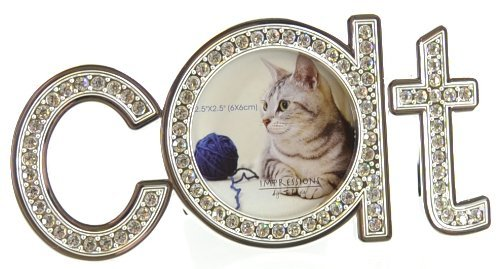 Juliana Silverplated 'Cat' Shape Photo Frame with Crystals
