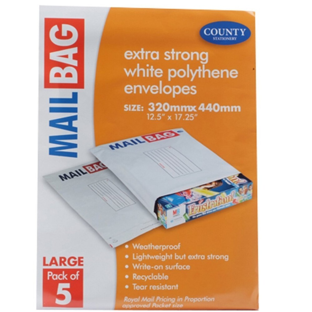 Pack of 5 Large Extra Strong Polythene Mail Bag Envelopes