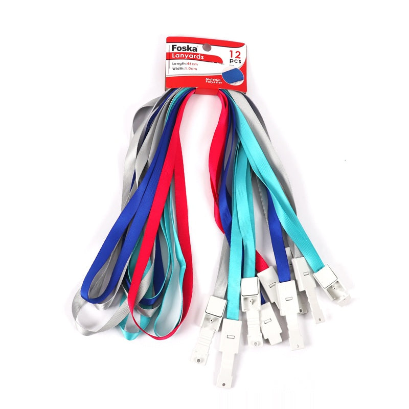 Pack of 12 Assorted Colour Lanyards - Name Badge Card Holders