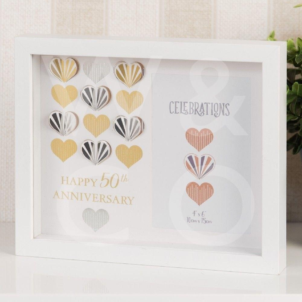 Celebrations White Wall Photo Frame - 50th Anniversary Golden