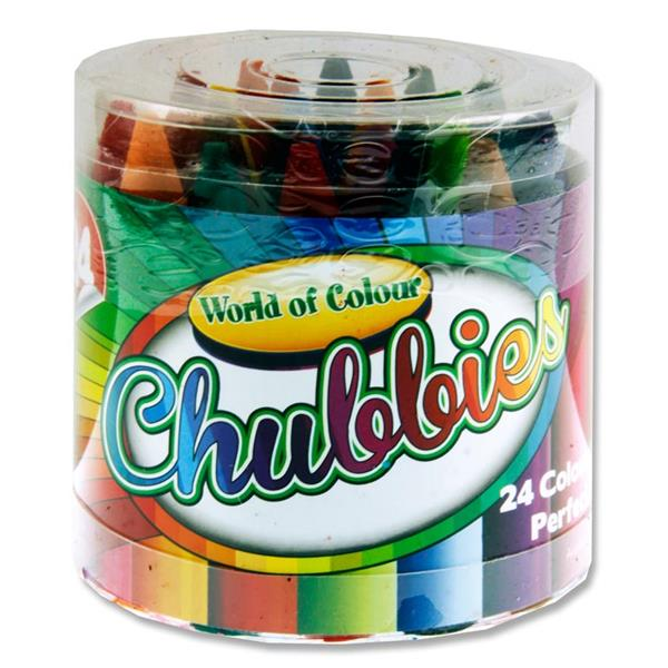 Tub of 24 Super Chubbies Crayons by World of Colour