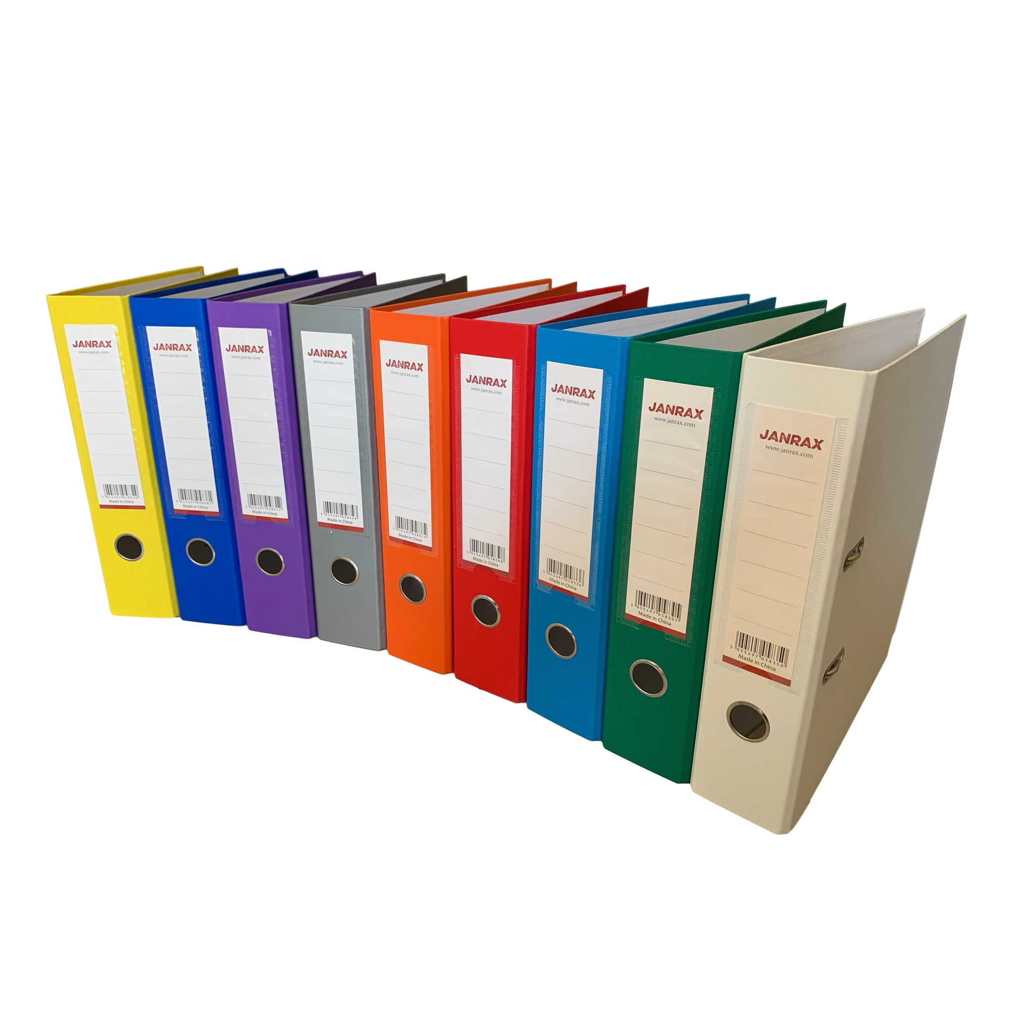 Pack of 10 A4 Assorted Colour Paperbacked Lever Arch Files by Janrax