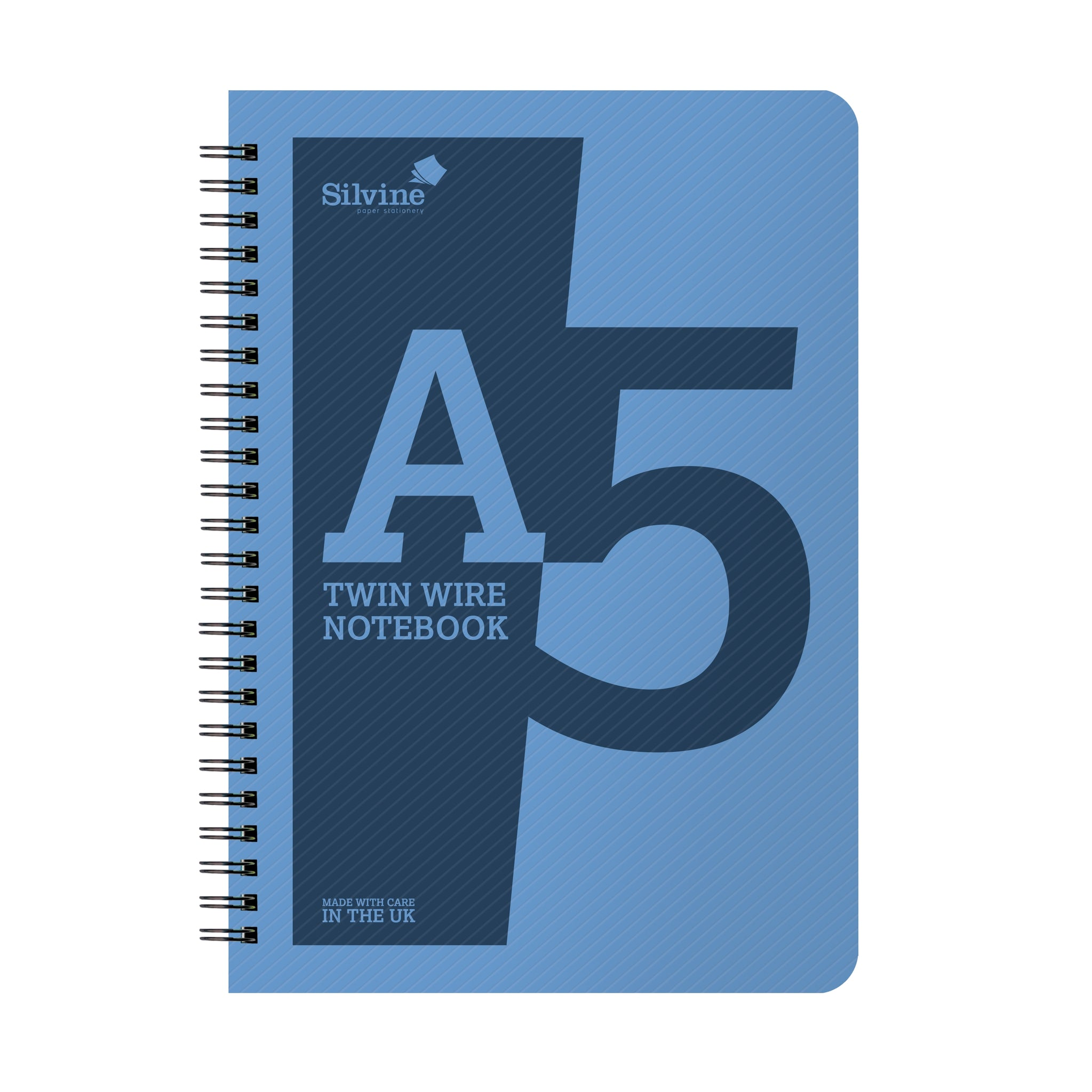 A5 Twin Wirebound Blue Plastic Front Notebook 160 Pages