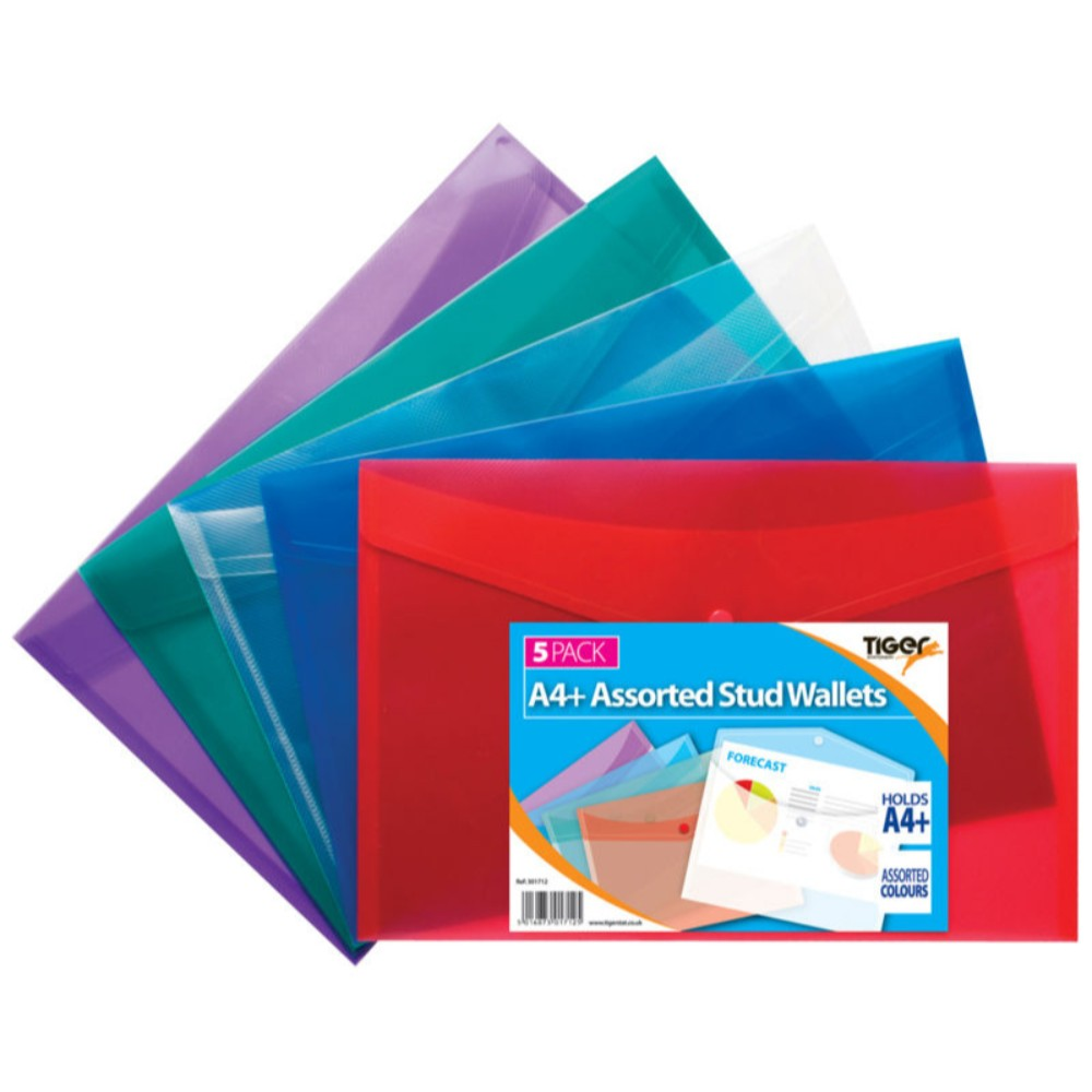 Pack of 5 A4+ Coloured Document Wallets