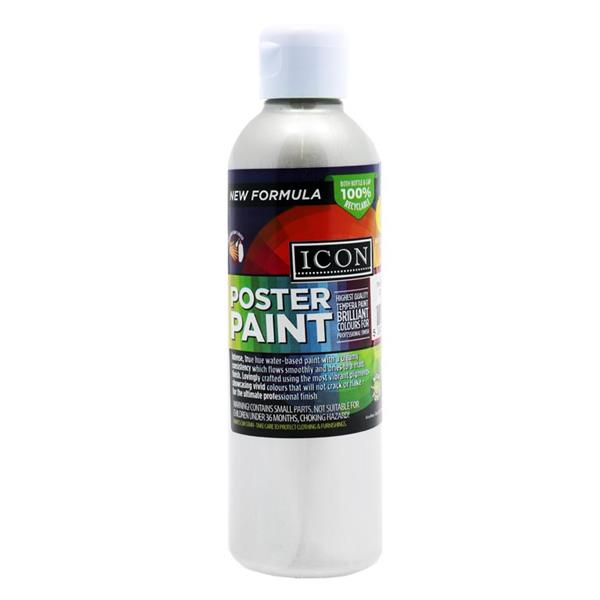 300ml Silver Metallic Poster Paint by Icon Art