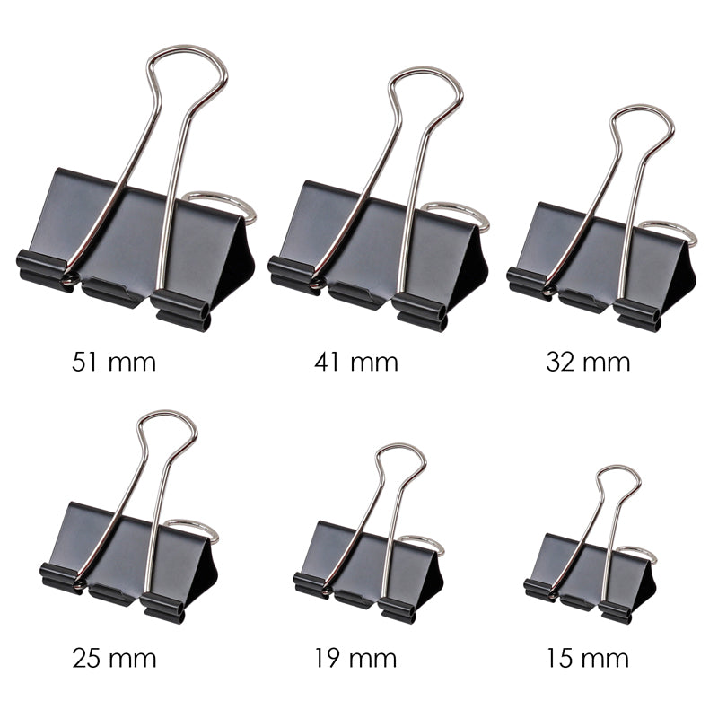 Pack of 12 Black 15mm Foldback Binder Clips