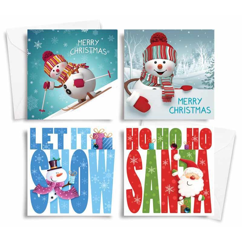 Pack of 10 Square Christmas Cards With Envelopes - Snowman Design