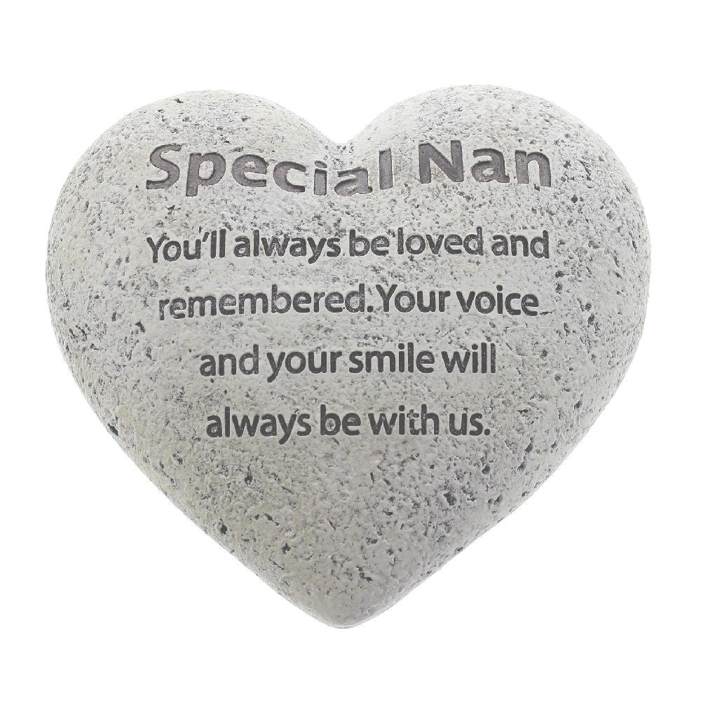 Graveside Memorial Heart Plaque Stone Effect 'Special Nan'
