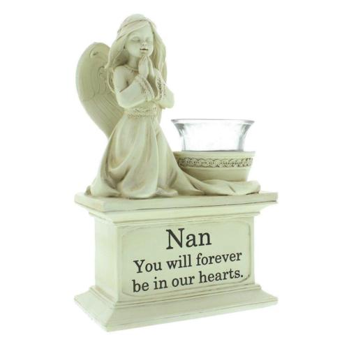 Nan Graveside Memorial Angel Cherub Praying Kneeling with Glass T Lite Holder