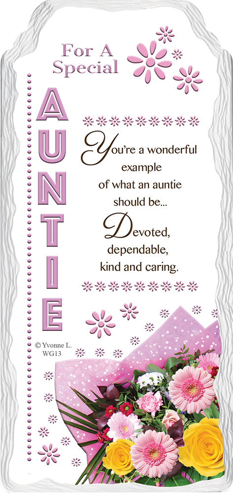 For a Special Auntie Sentimental Handcrafted Ceramic Plaque