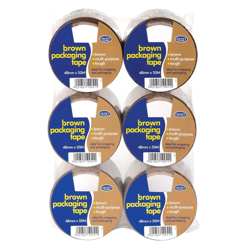 Pack of 6 Brown Packaging Tape 48mm x 50M