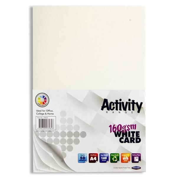 Pack of 50 Sheets A4 White 160gsm Card by Premier Activity