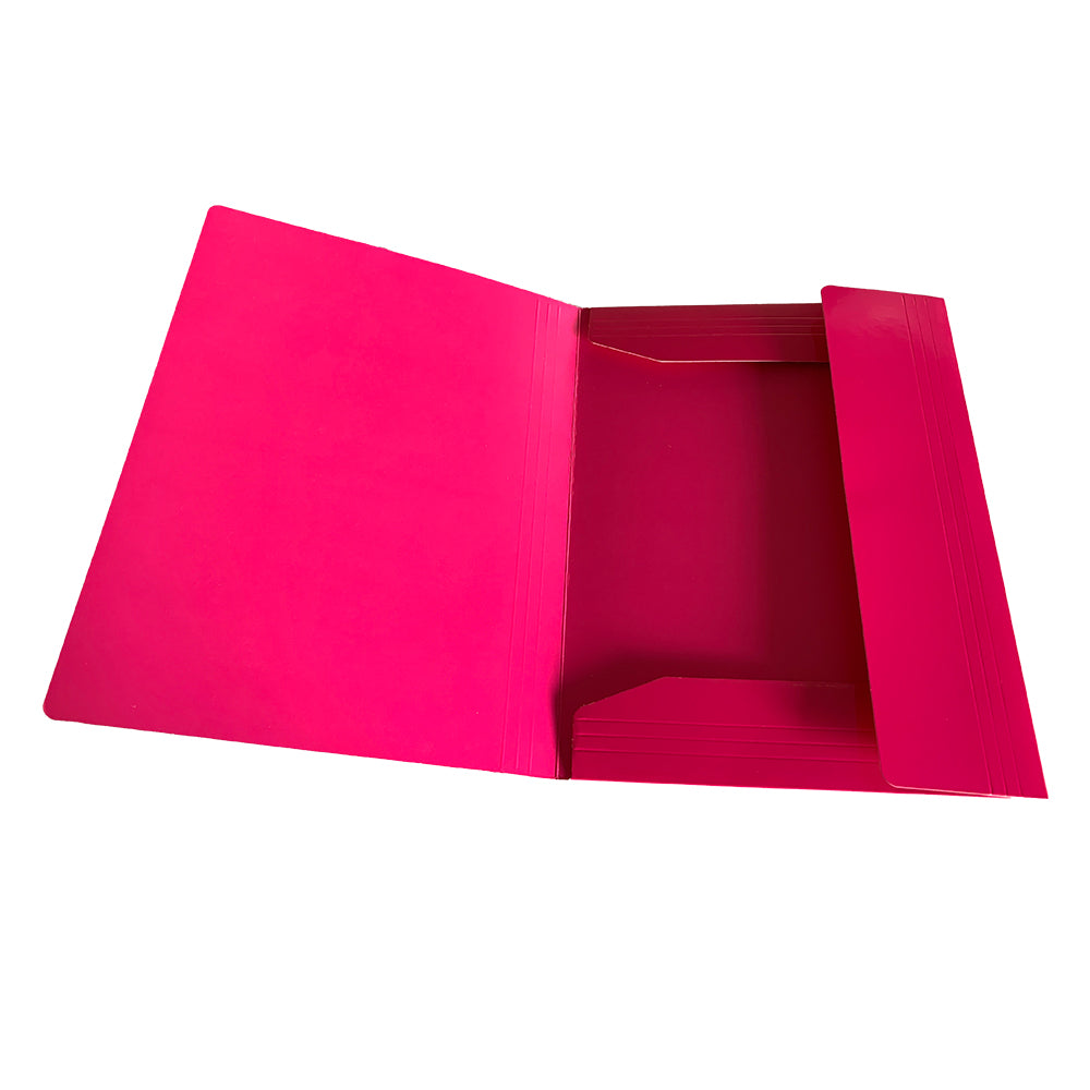 Janrax A4 Pink Laminated Card 3 Flap Folder with Elastic Closure